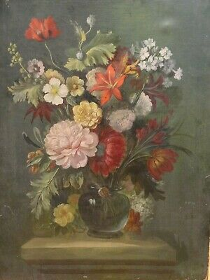 19th Century Dutch French Old Master Flowers Still Life Antique Oil Painting