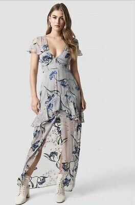 503e7691070 FOR LOVE & Lemons Cleo Violet Orchid Floral Silk Party Dress NWT M ...