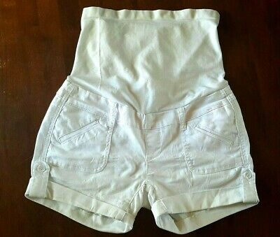 Bella Vida White Maternity Over Bump Stretchable Pregnancy Shorts Pants Sz US S