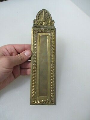 Antique Brass Finger Plate Push Door Handle French Floral Rococo Baroque Vintage