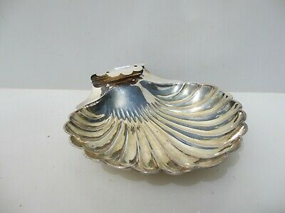 Large Antique Silver Plated Tray Serving Dish Pot Bowl Clam Shell Victorian Old