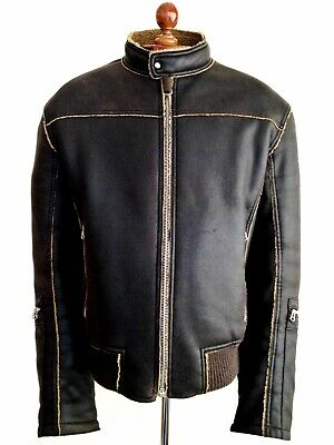 Vtg Leather HUGO BOSS Fleece Bomber Sherpa Harrington Flight Biker Jacket Coat