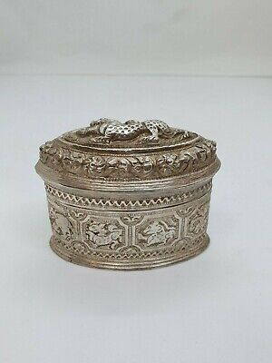 Antique Burmese Silver Oval Lime Box,  Repousse, Shan States, Late 19Th C