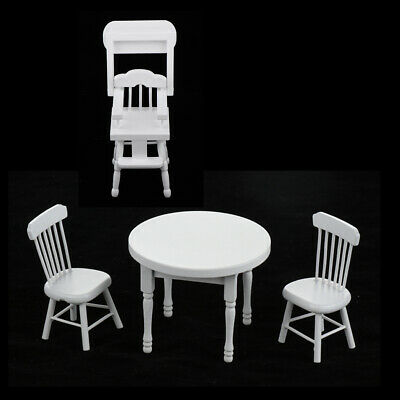 Miniature Wood Dining Table, High Chair Furniture Set for 1:12 Dollhouse