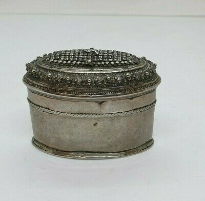 Antique Burmese Silver Oval Lime Box, Fish, Repousse, Shan States, Late 19Th C