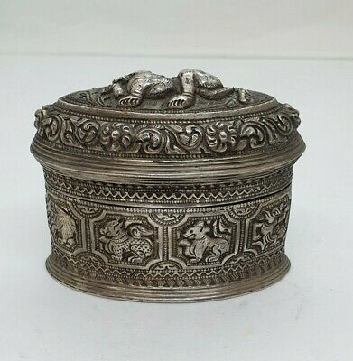 Antique Burmese Silver Oval Lime Box With Lettering, Shan States, Late 19Th C