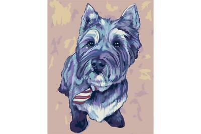 Wizardi Paint By Numbers Kit - Cairn Terrier - includes mini easel