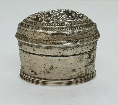 Antique Burmese Silver Oval Lime Box With Flower, Shan States, Late 19Th C