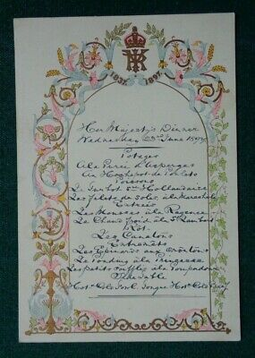 Antique Royal Dinner Menu Queen Victoria Diamond Jubilee Dinner 1897 Windsor