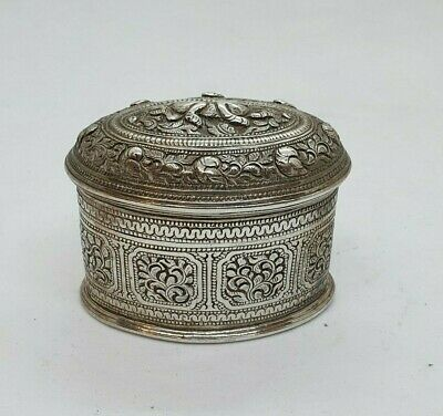 Antique Burmese Silver Oval Lime Box, Plants & Animals, Shan States, Late 19Th C