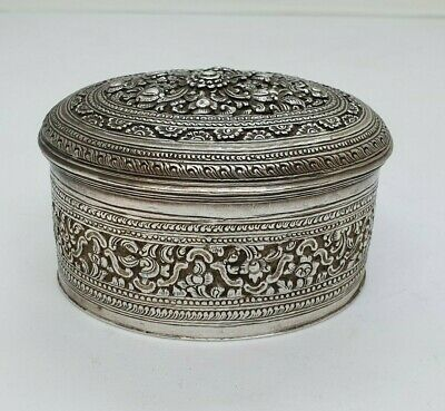 Antique Burmese Silver Oval Lime Box, Floral Patterns, Shan States, Late 19Th C