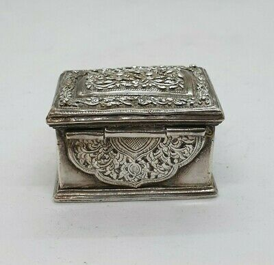 Antique Burmese Silver Rectangular Lime Box, Floral, Shan States, Late 19Th C