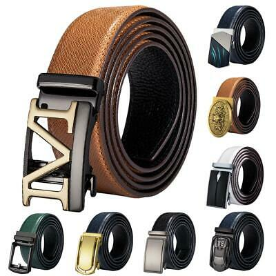 Mens Replacement Belts Buckles Real Leather Straps Ratchet Automatic Buckles