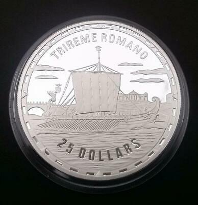 2007 Solomon Islands $25 Roman Trireme Warship Crown Coin Proof Silver With COA