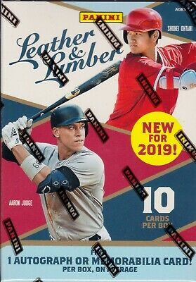 2019 Panini Leather and Lumber Baseball sealed blaster box 10 cards 1 hit