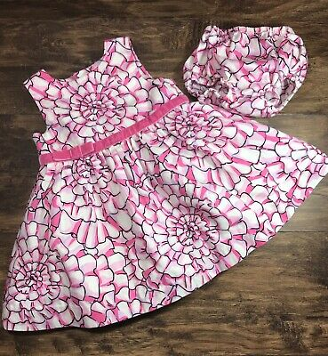 565f438a7 Lilly Pulitzer Baby Girls Dress Pink Lined Floral Print Bloomers Size 6-12  Month