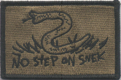 BuckUp Tactical Morale Patch VELCRO® BRAND Hook No Step On Snek Coyote 3x2""