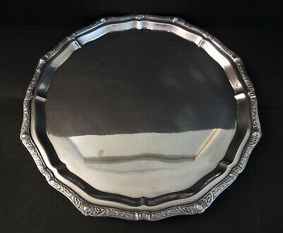 """Vintage Sterling Silver Round 12.5"""" 3 footed Tray, Sheffield, England 1979"""