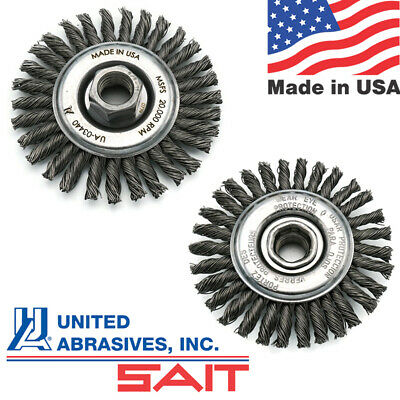 United Abrasives SAIT Carbon Steel Wire Wheel for Metal Stringer Bead / Pipeline