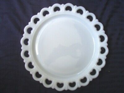 Vintage Large Round Lace Heart Edge Milk Glass Cake Plate / Serving Platter
