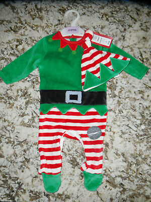 51c172894 BNWT gift Christmas Xmas 3-6 month Santa elf outfit set sleepsuit hat £16