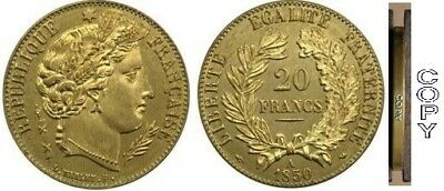 COPIE - 20 Francs Or Cérès 1850 A Parfaite Reproduction