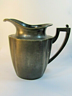 Large Antique Silver Plate Metal Pitcher signed