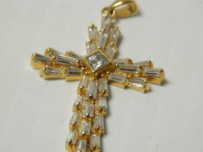Vintage Sterling Silver W/Gold Wash+Cg Stones Christian Catholic Cross Crucifix