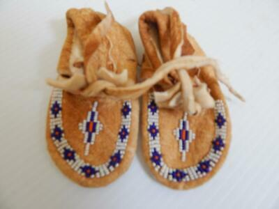 Old Vintage Cree Indian Northern Plains Beaded Baby Moccasins - Never Worn-