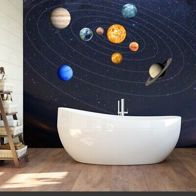 Glow In The Dark SOLAR SYSTEM Wall Stickers 9Pcs Planets Mars Decal Room Decor