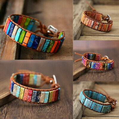 Chakra Natural Stone Tube Beads Bohemian Multi Color Leather Wrap Bracelet Gift