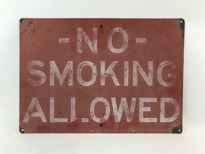 Vintage Industrial Construction NO SMOKING ALLOWED Metal Safety Sign 20x14