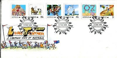 Australien - First Day Cover - Living Together - Six Stempel Unaddressed