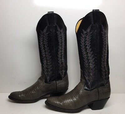 b16f84cac06 WOMEN'S COWBOY BOOTS 7B Brown Lizard Leather Scalloped Panhandle ...