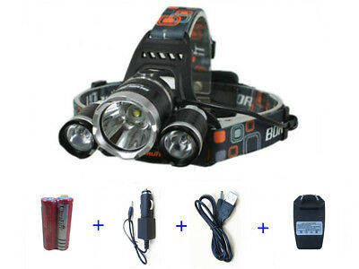 CREE 5000LM 3T6 XM-L XML LED Rechargeable Headlamp Headlight w/ 18650 Battery
