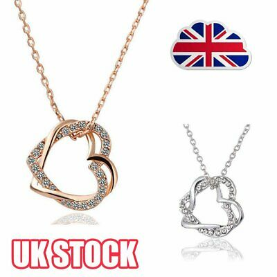18K Rose Gold Filled Women's Heart Pendant Necklace With Crystal BJ