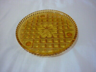 Vintage depression amber glass footed round dish C1940's