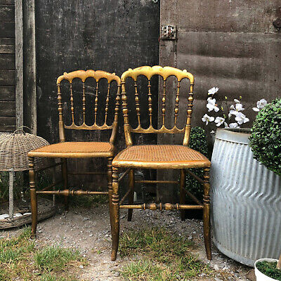 Gorgeous Pair of Vintage Gilded French Parisian Bedroom Boudoir Cane Chairs