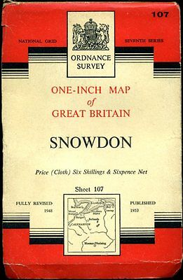 1953 vintage OS Ordnance Survey One-Inch map No 107 Snowdon (linen-backed)
