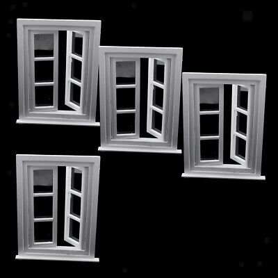 1/12 Miniature Dollhouse Mini Wooden DIY Windows Doll House Decoration White