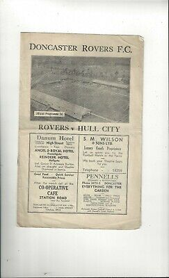 Doncaster Rovers v Hull City Football Programme 1946/47