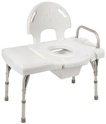 Shower Transfer Seat Bench Chair + Commode Bath Adjustable 180kg Heavy Duty NEW