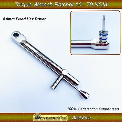 New Dental Implant Torque Wrench Ratchet 10-70 ncm Built In Head Size 4.0 Square