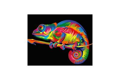 Wizardi Paint By Numbers Kit -  Rainbow Chameleon  - includes mini easel