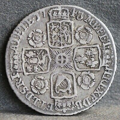 George II Sterling Silver Sixpence, 1743, Roses in Reverse Quarters