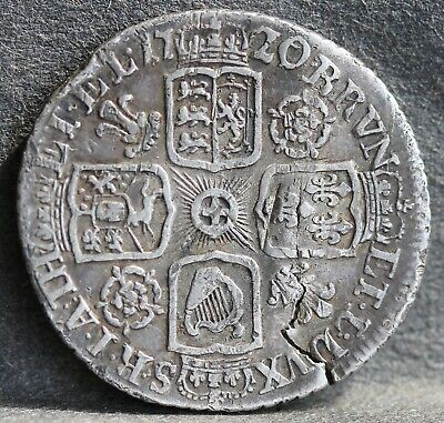 George I 0.925 Silver Sixpence 1720 /17 Overdate. Roses & Plumes Rev. Flan Crack