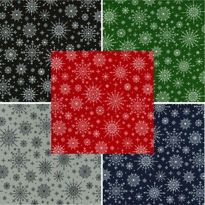 100% Cotton Fabric Christmas Scandinavian Snowflakes Festive Xmas 135cm Wide