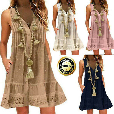 Womens Summer Loose Casual V-Neck Lace Solid Sleeveless Mini Dress Plus S-5XL
