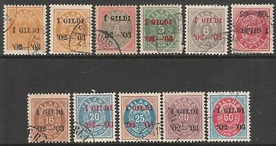 ICELAND 1902 1903 FINE USED STAMP SET incl #66 Pmk AKRANES small 3 expertized