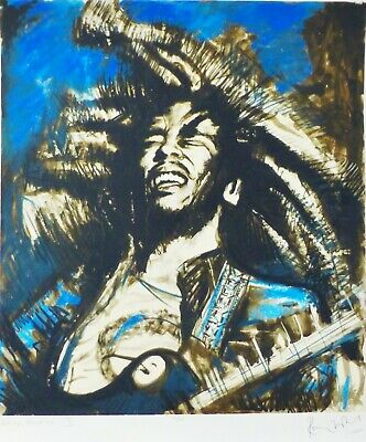 """RONNIE WOOD """" Get up, stand up II """" Bob Marley (blue) HAND SIGNED ROLLING STONES"""